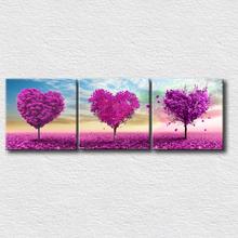 3 painéis pintura de parede impresso em lona árvores do coração cópias bonitas da lona para decoração home moderna sem moldura(China (Mainland))