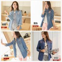 2014 Spring Blouse New Woman Cowboy Long Sleeved Shirt Women's Shirt jean tops slim shirt  female plus size outerwear Cowboy