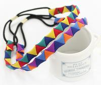 fashion hand-string Wholesale and Retail fashion handmade triangles elastic hairbands headband hair accessories 12pcs/lot