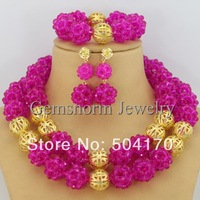 2014 New Arrival! Handmade African Beads Crystal Jewelry Set Nigerian Wedding Beads Jewelry Set 11 Colors GS029