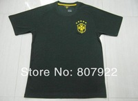 Embroidery Logo 2014!!! Brazil Third Black Soccer Shirt,Thailand Quality Brazil Black Shirt+Free Shipping