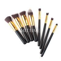 2014 Hot Sale 8pcs/lot Gold Makeup Brushes Soft Synthetic Cosmetic Blending Foundation Concealer Brush 02 # 46614  V00609