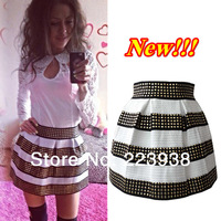 New  2014 Women skirt Fashion Brand Fluffy Gold Rivet Elastic Ball Gown Plus Short Skirt For Women Free Shipping
