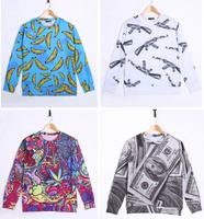 High quality 3D Print Animal Sweater Banana AK47 Gun Benjamins Flowers Print Hoodies 3D Sweatshirts Men Sweater