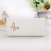 Factory price Free shipping Simple Fashion Women butterfly print Handbag Lady white wallet Femal Clutch Purse Evening Bag WZ-112