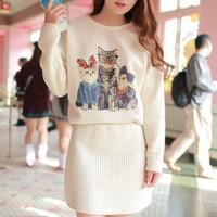 Free shipping new in 2014 fashion spring winter mori girl long sleeve dress Korean clothes women three cat short dresses
