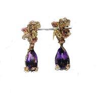 Derongems_Fine Jewelry_Luxury Natural Amethyst Flower Party Earrings_S925 Solid Silver Luxury Earrings_Factory Directly Sale