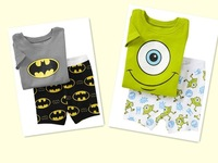 boy pajamas cartoon yellow/blue/white cotton pajamas for boys short sleeve pijamas kids  sleepwear