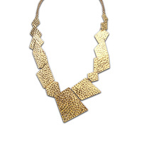 New retro pop irregular geometry false collar statement necklace short paragraph Hollow Suqare jewelry Gold plated for womens