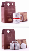 Free shipping Handbag bag style cup set ceramic cups set 2014 new arrival coffee mug tea cup 2 designs optional