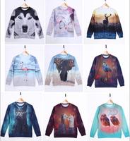 High quality 3D Print Animal Sweater Animal Wolf Bird Butterfly Elephant Deer Print Hoodies 3D Sweatshirt Women Sportwear Men