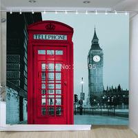Curtain terylene cloth printed shower curtain180X180cm Red telephone office