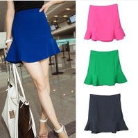 2014 Spring summer European elegant ladies new arrival fashion casual fish tail's mini cute candy colors ruffle skirts free ship
