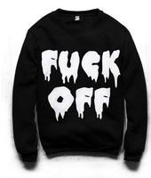 Women's turtleneck sweatshirts harajuku Fuck off print hoodies Black pullovers 2014 New free shipping