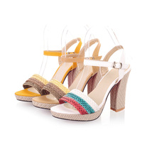 2014 New Summer Women's Sandals High Heel Thick Heels Weave Mixed Colors Open-toed Casual Female Shoes