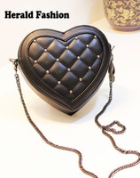 Personalized 2014 women's messenger bag punk plaid love heart  fashion desigual bag bolsas feminias chain shoulder bag 140605M