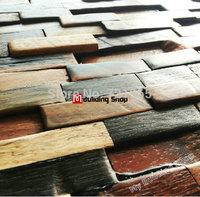 Ancient wood mosaic kitchen backsplash tiles NWMT070 3d natural wood mosaic tiles wood wall tiles mosaics pattern