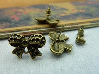 Diy handmade vintage ancient bronze bow stud earring dutou c2149 14 20mm 20 8
