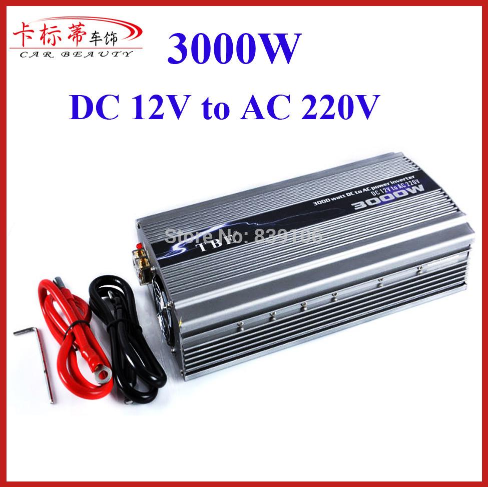 High Power 12V 24V Car Power Inverter 3000W Charger DC 12V TO AC 220V Peak Power 6000W Car Converter 3000W Adapter(China (Mainland))