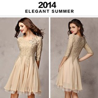new 2014 spring and summer dress women's casual dress Slim Sleeve Lace Dresses chiffon dress Free shipping size S-XL