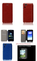 2Pcs Screen Protector+Leather Case For ASUS Padfone mini 4.3 inch Cellphone With Card Slots,High Quality,Free Shipping