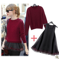 Spring 2014 Short hollow sweater shrug bottoming organza piece  girl dress casual skirt