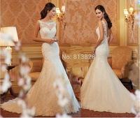 Lace Mermaid Wedding Dress Racerback Short Trailing Wedding dress 2014 Bridal Wedding Gown Vestido De Novia