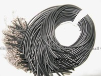 "Rubber Necklace Cord, with Iron Findings, Black, Nickel Color, about 19""/strand, 2 mm in diameter"