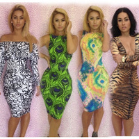 New 2014 Women Bandage Party Evening Sexy Dress Spring Night Club Bodycon Black and White Printed Evening Dresses