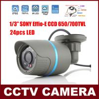 1/3''  SONY Effio-E CCD CCTV Camera 700TVL 24 IR LED Night Vision Weatherproof Outdoor Bullet Security Camera With OSD Menu