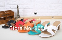H Brand Logo 100% Genuine Leather Orange Women Sandals Slippers Shoes For Women With Heel White Black Red Blue 5 Colors