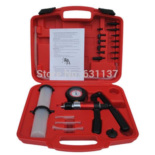 Brake Line Bleeder Bleeding Pressure Vacuum Car Repair Hand Pump Kit /21 PCS VACUUM/PRESSURE BRAKE BLEEDING KIT AUTOMOTIVE TOOLS(China (Mainland))