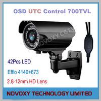 60LED 50m Sony 673 CCD 4140 Effio-E 700TVL IR Bullet Camera Outdoor CCTV Waterproof UTC Control OSD 2.8-12mm Lens Free Shipping