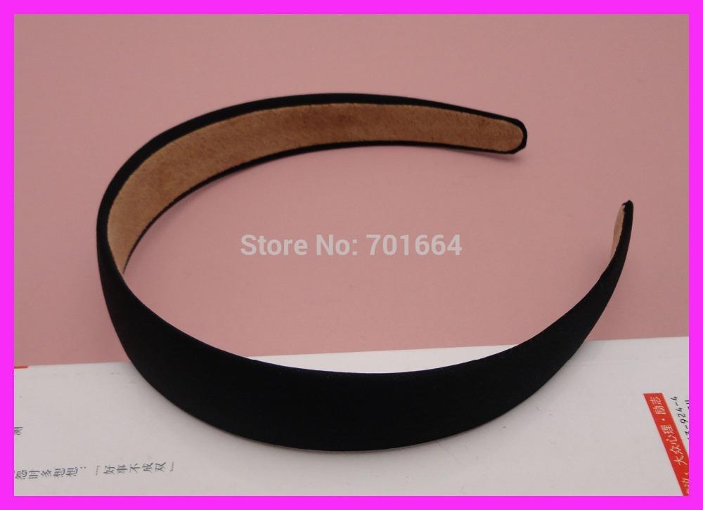 "10PCS 25mm 1"" Black Fabric Covered Plain Plastic Hair Headbands with velvet back at free shipping,BARGAIN for BULK(China (Mainland))"