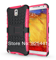 Heavy Duty Strong Armor Tire Style Hybrid TPU and PC Hard Stand Bracket Protective Skin Case For Galaxy Note 3 III 1pcs/lot