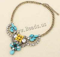 Free shipping!!!Zinc Alloy Jewelry Necklace,2013 new, with iron chain & Glass & Resin, with 10cm extender chain