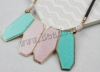 Free shipping!!!Zinc Alloy Jewelry Necklace,Korean, with leather cord & Glass & Copper Coated Plastic, with 6cm extender chain