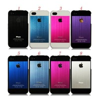 Two Pieces Logo Brushed Metal Case for iPhone 4 4S
