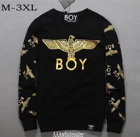 M-3XL plus size New 2014 spring autumn men women London BOY sweatshirt Black/White Gold Eagle hip hop brand sportswear hoodies(China (Mainland))