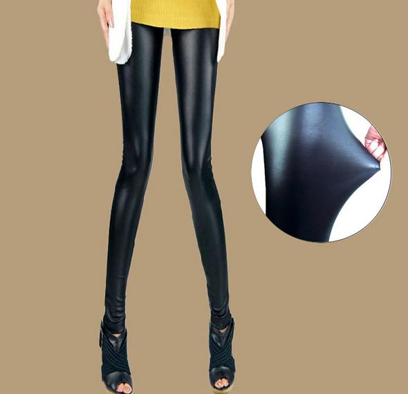 Леггинсы женщины искусственная кожа леггинсы высокая - талия супер прорезиненная тесьма брюки-карандаш черный лосины леггинсы
