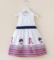 3~9T teenage girls summer dresses fashion lady printed girl brief dress with blue sashes teenage girls fashion wear in retail