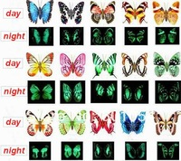 Hi-Quality New 50pcs/lot Light In Dark Magnetic Sticker Butterfly 8-9cm Width Fridge Magnet Decoration Luminous Butterfly Toys