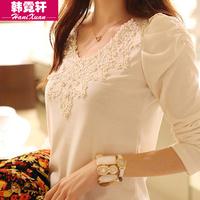 2015 spring women blusas long-sleeve shirt slim lace blouse plus size s-3xl free shipping 15