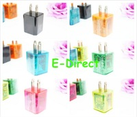 New Arrival LED Light Colorful Crystal Dual USB 2 Port 2.1A Travel Wall Charger EU/US Plug for Ipad for iPhone for Samsung ect