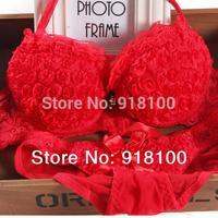 Front button bra set sexy halter-neck three-dimensional flower romantic underwear set