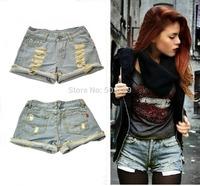 NEW 2014 Fashion Women Vintage Denim High Waist Light Blue Jean Shorts HOT Pants S M L XL