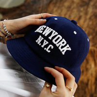 2014 new korea style cotton female and men spring summer nyc letter embroidery NEWYORK bucket hat sun hat fishing hats 80170
