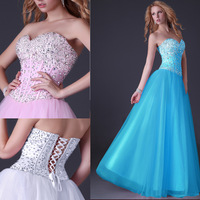 2014 New Elegant Sweetheart Crystal Lace up Long Prom Dresses Pink,Blue,White Corset Style Beaded Sexy Party Evening Gown CL3519