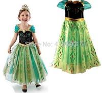 2014 Hot Kids Baby Girls Princess Frozen Dress Elsa & Anna Summer Dress Cartoon Beautiful Dress Wholesales 5pcs/lot