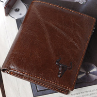 men wallet Mens New Bulls Mark Genuine soft  Leather Zipper Coin Bifold Wallet Purse Card Holder wallet holder